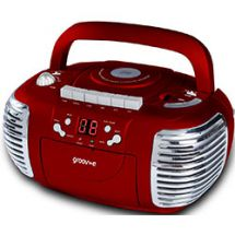 Groov-e GVPS813 Retro CD Player AM/FM Radio Cassette Boombox Aux Input LED - Red