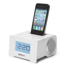 Groov-e GVSP8952 iPhone iPod Compact Speaker Dock System Alarm Clock Radio White