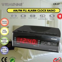 Texson 05057 CR57 Alarm Clock Radio Dual Alarm Digital LED Display Mains Powered
