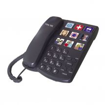 TEL-UK Photocall 18042 Corded Home Phone Wall Mountable Picture Memory - Black