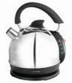 Lloytron 2 Litre 2.2Kw Domed Cordless Kettle Polished Stainless Steel Black Trim