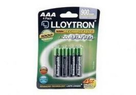 Lloytron B015 4 x NIMH AccuUltra High Capacity Rechargeable AAA Batteries 900mAh