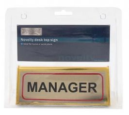BoyzToyz RY332 Novelty Desk Sign Gold Colour Assorted Manager Managing Director