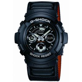 Casio AW591MS/1A Neobrite Leather Band G Shock Alarm Chronograph Watch - Black