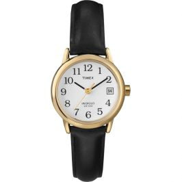 Timex T2H341 Genuine Leather Strap Women's Easy Reader Date Watch - Black/Gold