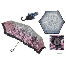 KS Brands UU0185 Taslon Frill Edge Leopard Print Crook Handle Umbrella - New