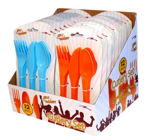 BoyzToys 12 Pack Durable Plastic Cutlery Set  RY690
