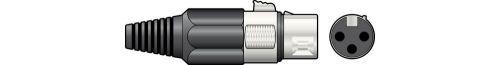 QTX 761.657 Strain Relief & Plastic Cable Protector 3 Pin XLR Socket Connectors