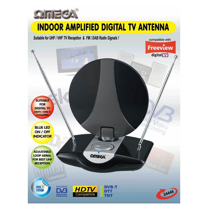 Omega 24446 Indoor UHF TV Antenna Amplified Aerial Digital ...