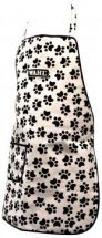 Wahl ZX780 Waterproof Pet Grooming Apron With Pouch Black White Paw Print Design